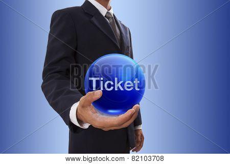 Businessman hand holding blue crystal ball