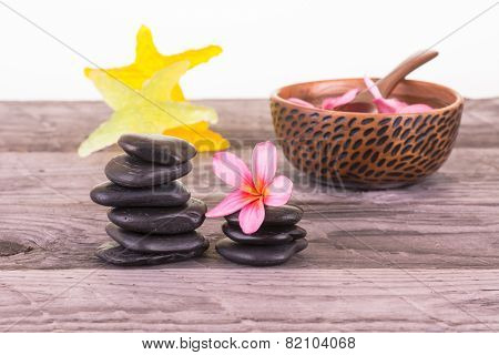 Spa With Flowers, Stones And Starfish Soaps