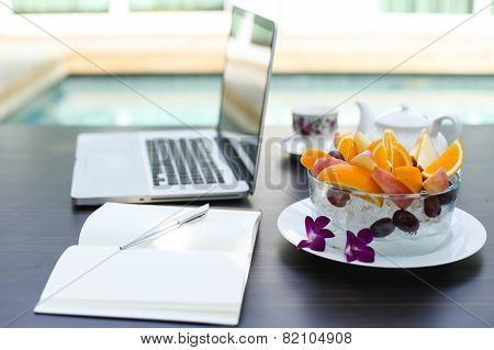 Fruit Blow And Laptop Business Computer