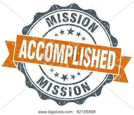 Mission Accomplished Vintage Orange Seal Isolated On White