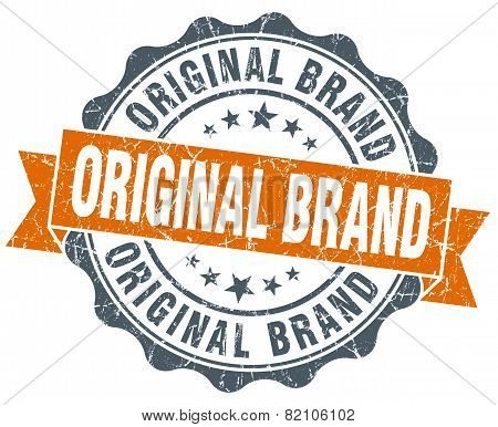 Original Brand Vintage Orange Seal Isolated On White