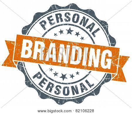 Personal Branding Vintage Orange Seal Isolated On White