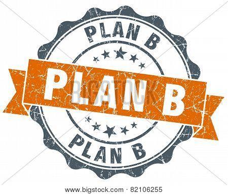 Plan B Vintage Orange Seal Isolated On White