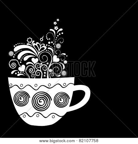 Stylised Cup With Floral Elements
