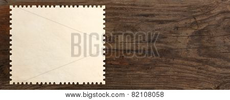 paper stamp post old wooden table background
