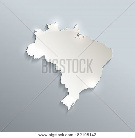 Brazil map blue white card paper 3D raster