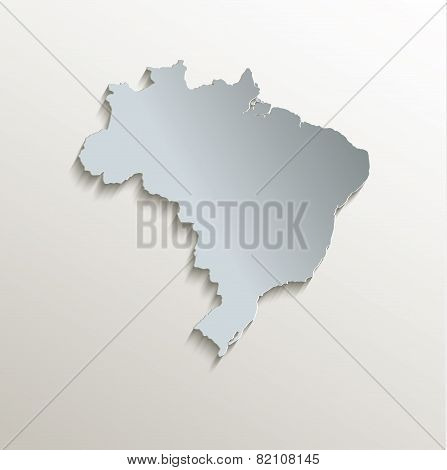 Brazil map white blue card paper 3D raster