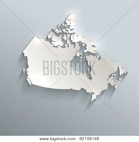 Canada map blue white card paper 3D raster