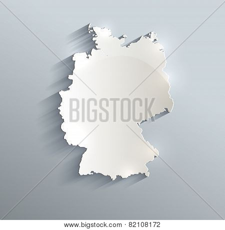 Germany map blue white card paper 3D raster