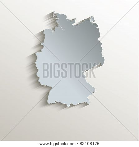 Germany map white blue card paper 3D raster