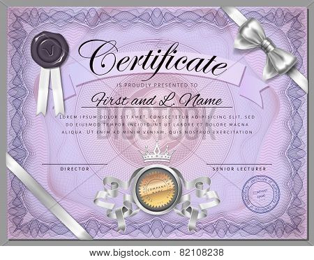 Vintage Certificate Template With Detailed Border And Calligraphic Elements On Purple Paper Vector