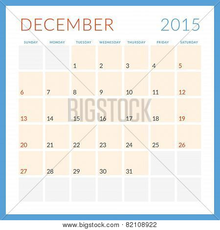 Calendar 2015 Vector Flat Design Template. Deceber. Week Starts Sunday
