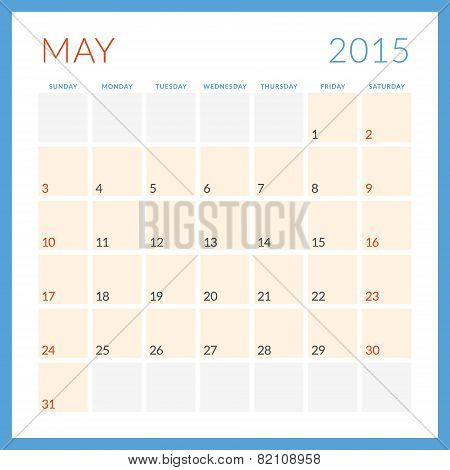 Calendar 2015 Vector Flat Design Template. May. Week Starts Sunday
