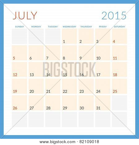 Calendar 2015 vector flat design template. July. Week starts Sunday