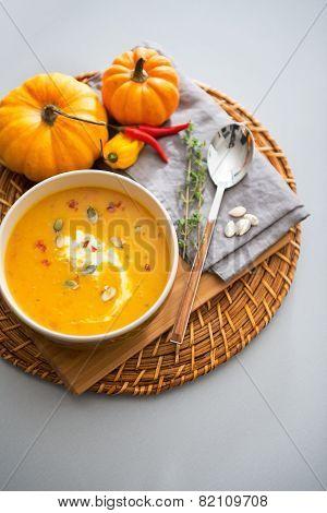 Closeup On Pumpkin Soup