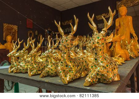 CHIANG MAI, THAILAND - DECEMBER 27: Wood Carving Sculpture In The Wood Carving Factory