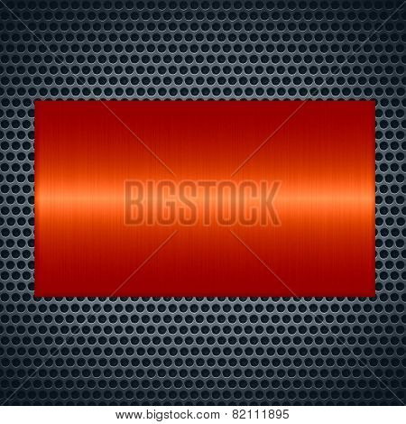 Orange metallic texture with holes metal plate background