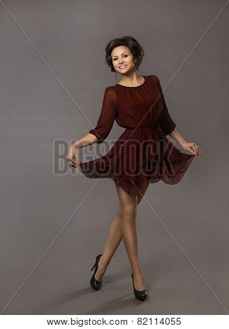 Woman Happy Dancing, Smiling Glad Girl Posing In Red Dress, Fashion Full Length Portrait