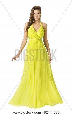 Woman Beauty Long Fashion Dress, Elegant Girl In Yellow Summer Gown, Young Beautiful Model With Long