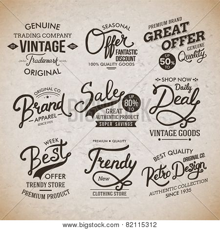 Vintage Fashion Labels on Light Brown Background