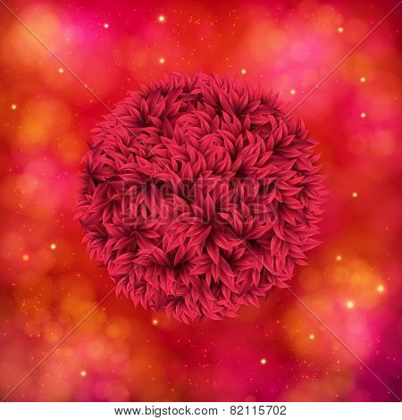 Red Flower on Abstract Orange and Pink Background