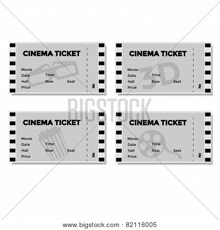 Set of Grey Cinema Ticket