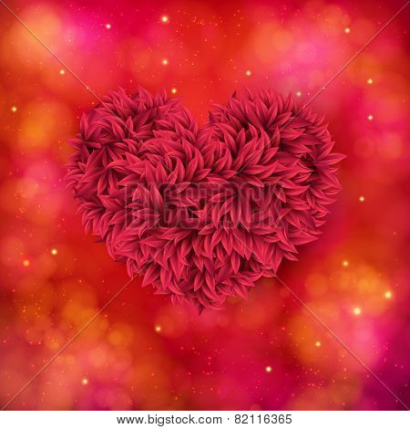 Romantic card design of a red floral heart