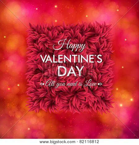 Tender floral red Valentines Day card design