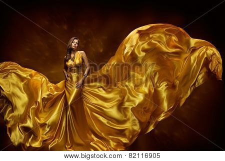 Fashion Model Woman Dress, Lady In Fluttering Silk Beauty Gown, Beautiful Fabric Waving On Wind