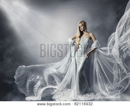 Young Woman In Fashion Shiny Dress, Lady In Flying Clothes, Girl Under Star Light, Shiny Cloth