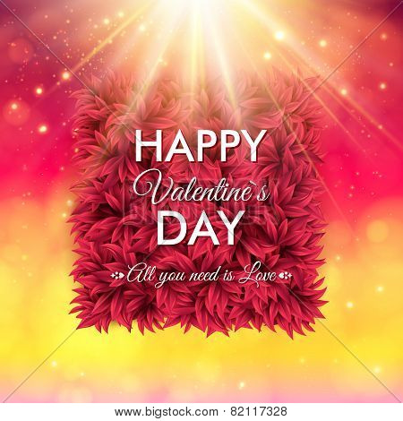 Colorful Happy Valentines Day vector card design