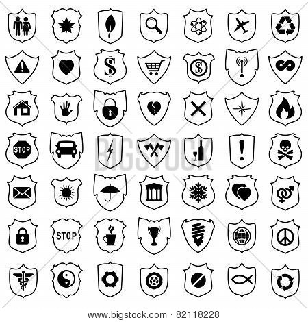 Vector Set Of Shield Signs