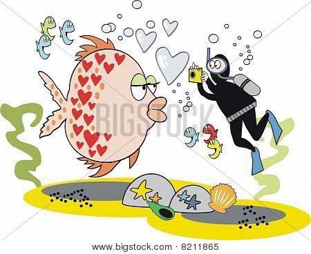 Romantic fish cartoon