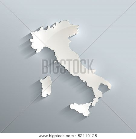 Italy map blue white card paper 3D raster