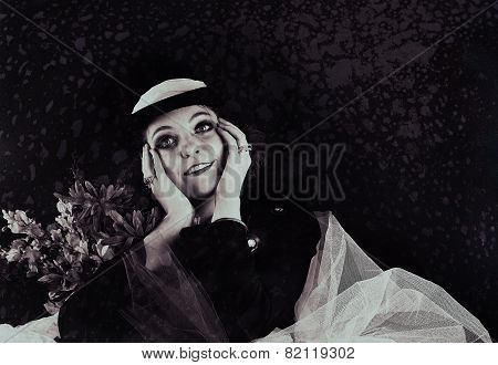 Woman wearing jacket and hat