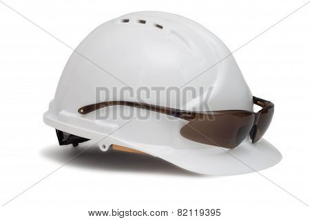 Construction helmet and safety glasses