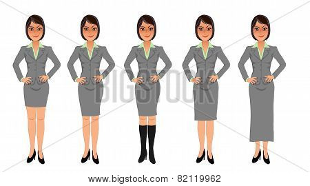 Business woman grey skirt suit hands on hips