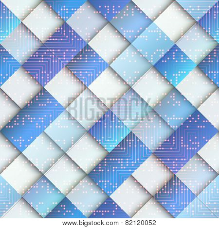 Light blue geometric pattern with matrix elements.