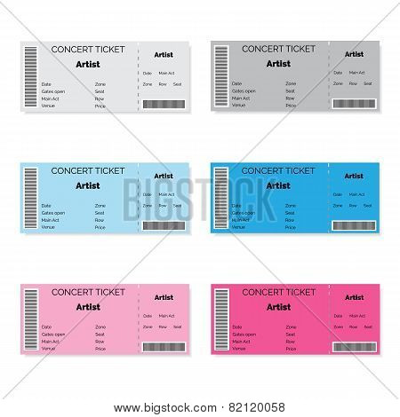 Set of Colorful Concert Tickets.