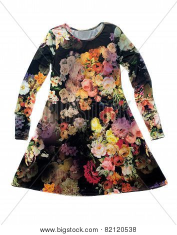 Women's Dress With A Floral Pattern.