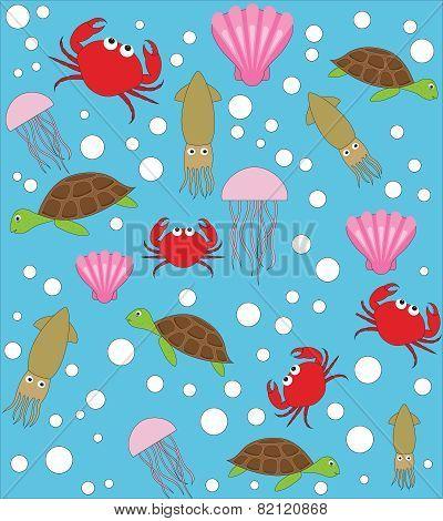Sea animals vector pattern