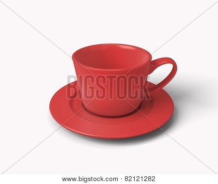 Red Cup For Coffee Isolated On White Background