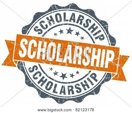 Scholarship Vintage Orange Seal Isolated On White