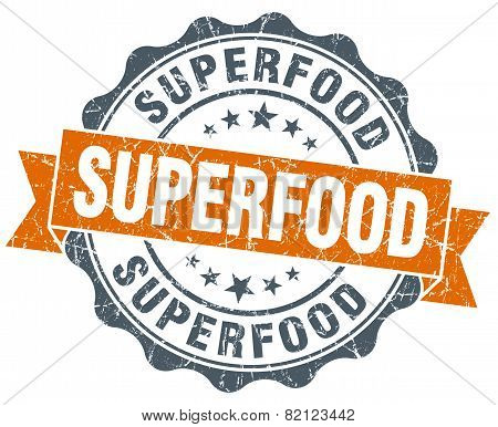 Superfood Vintage Orange Seal Isolated On White
