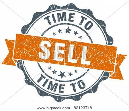 Time To Sell Vintage Orange Seal Isolated On White