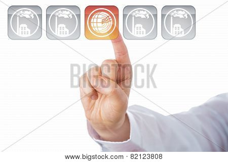 Index Finger Highlighting Geothermal Energy Icon