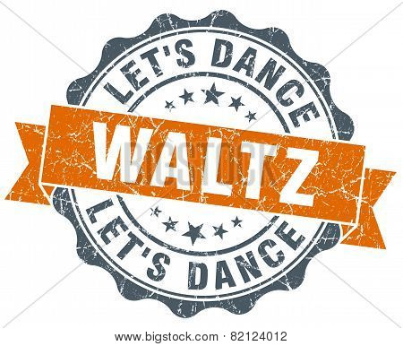 Waltz Vintage Orange Seal Isolated On White