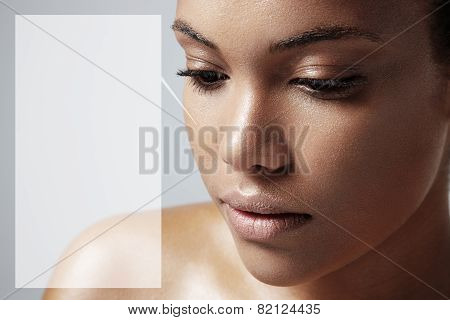 Teen Girl With A Healthy Skin And A Space For Text