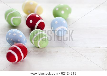 Many Colorful Easter Eggs With Copy Space