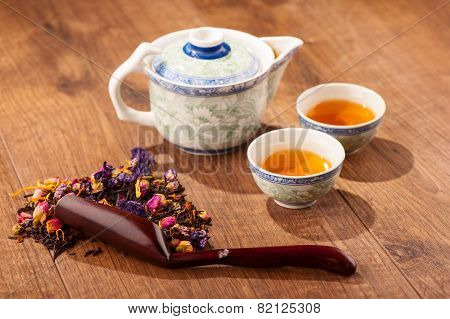 Tea ceremony composition with hand fan